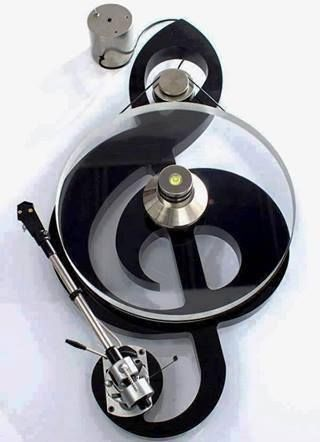 custom rim-drive turntable in shape of treble clef