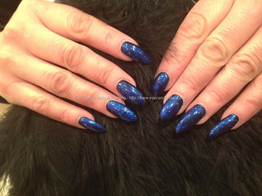 Acrylic nails with navy blue polish with blue glitter | Hair & nails ...