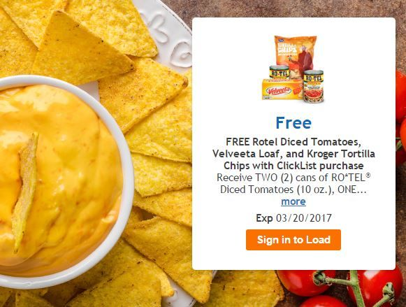 FREE Rotel Diced Tomatoes, Velveeta Loaf, and Kroger Tortilla Chips at Kroger w/ ClickList LINK ==> https://goo.gl/jOOIg2  #FreebieFriday #Coupons #freebiesinthemail #samples #giveaway #FreeSAMPLE