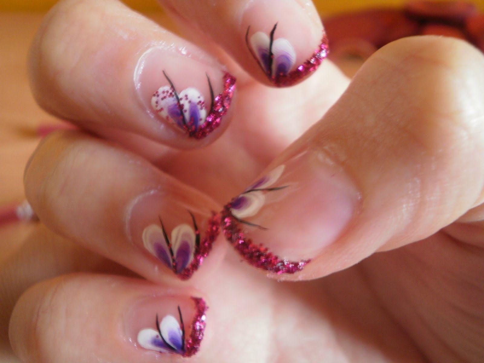 diseño para uñas cortas con one stroke - one stroke short nails ...