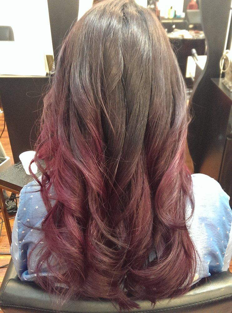 Dark Brown To Pink Burgundy Ombre By Yuri Hair And Make Up Hair