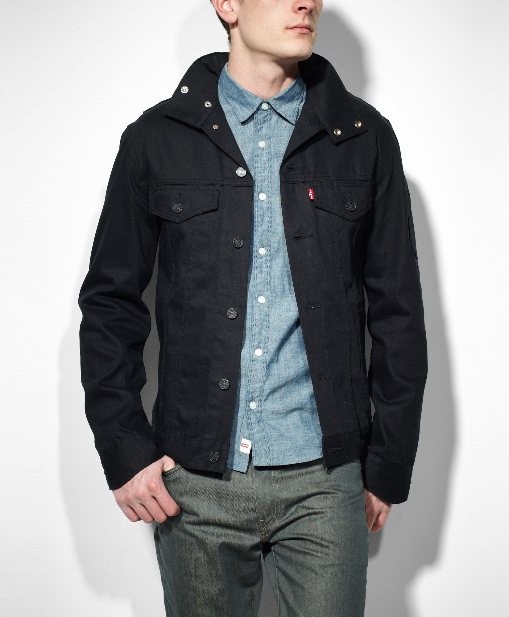 3ef97682f8a Levi s Commuter Hooded Trucker Jacket - Black - Slim Fit. (Mens obviously -  but a small might work for ladies)