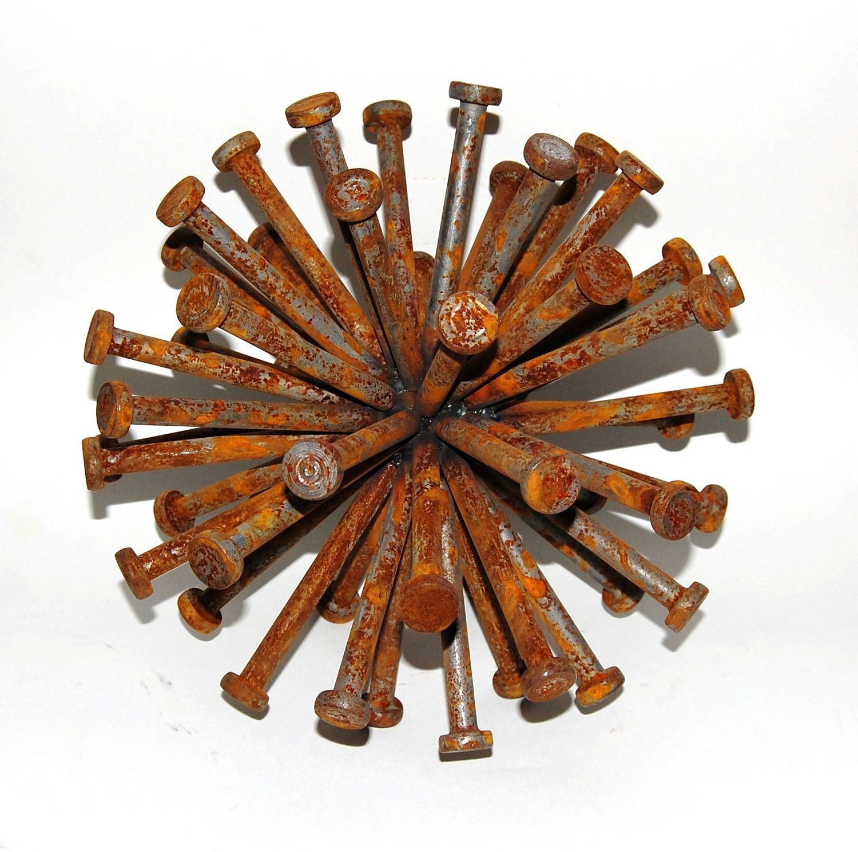 RESERVED FOR MAINELAVENDER steel sphere sculpture - industrial art ...
