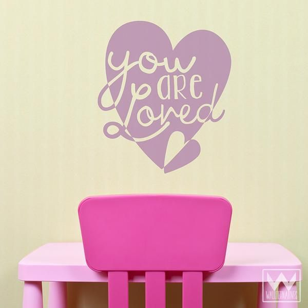 Colorful Love Heart Vinyl Wall Decals to Stick On Walls ...