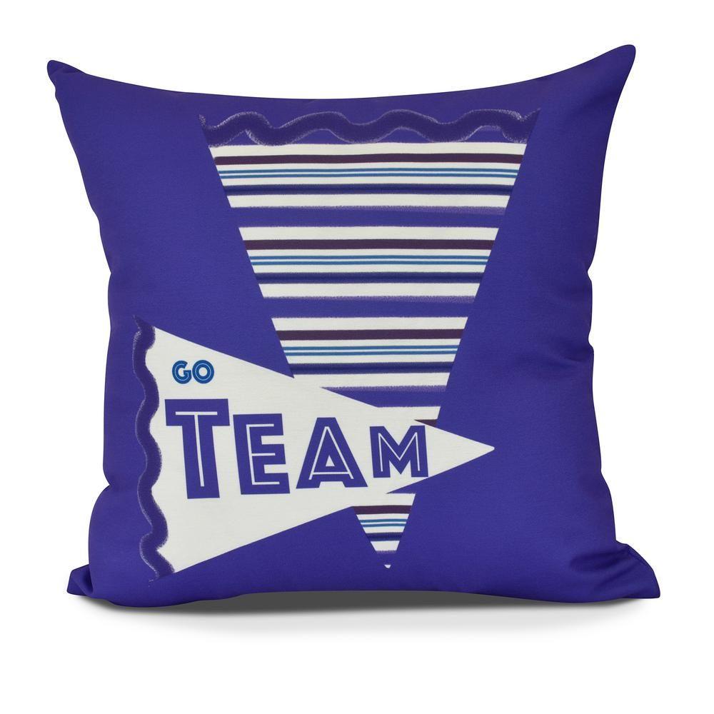 Blue Word Print E by design Decorative Pillow