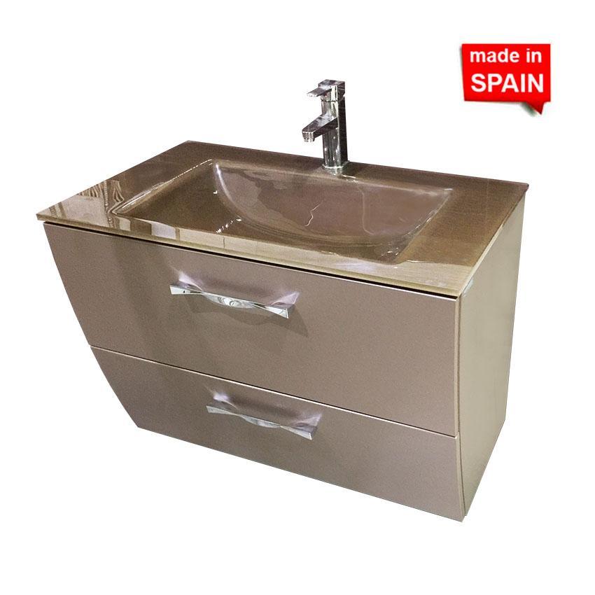 Socimobel 32 Inch London Modern Bathroom Unit Metal Brown Glass