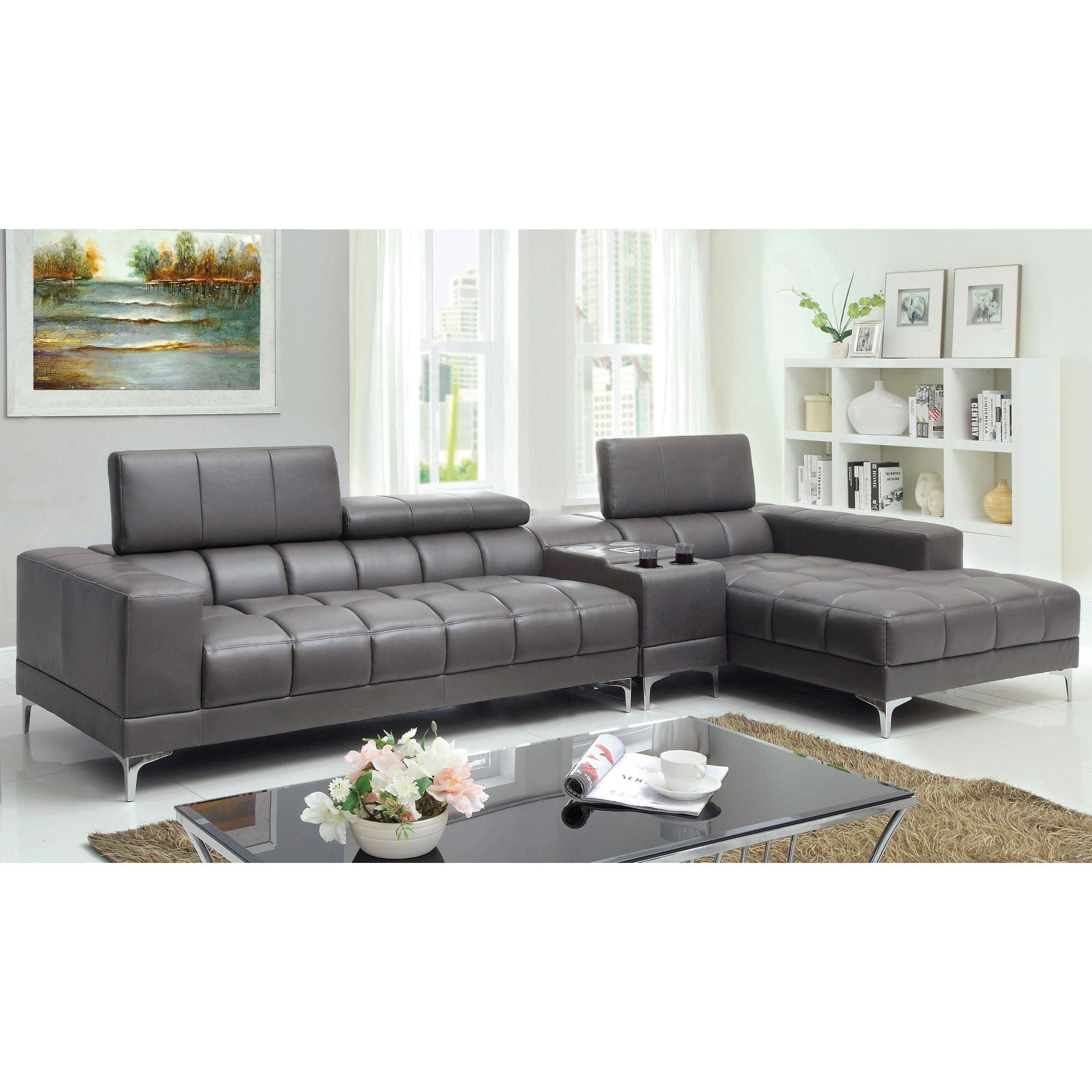 Furniture of America Bourlette Grey Bonded Leather 2-Piece Sectional ...