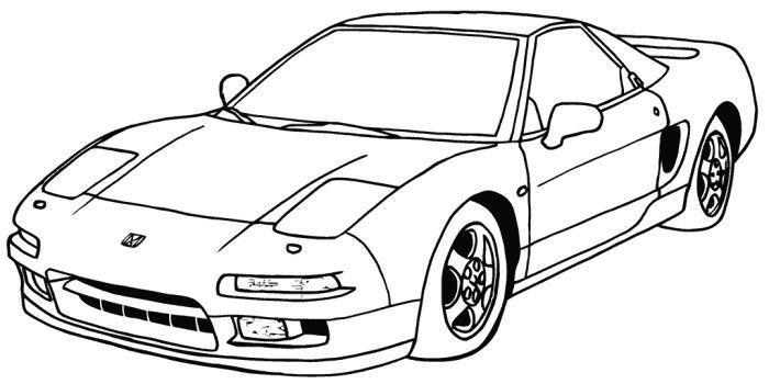 Coloring Pages Honda Cars : Acura nsx honda coloring page
