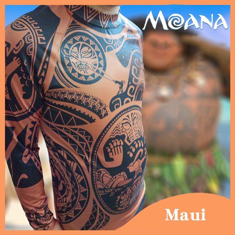 Moana clothes maui cosplay costume men 39 s printed t shirt for Maui shirt tattoo
