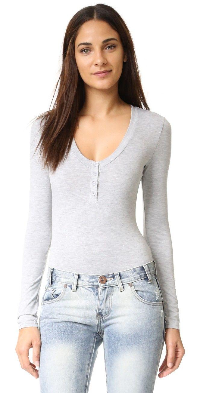 re:named Long Sleeve Henley Bodysuit | SHOPBOP