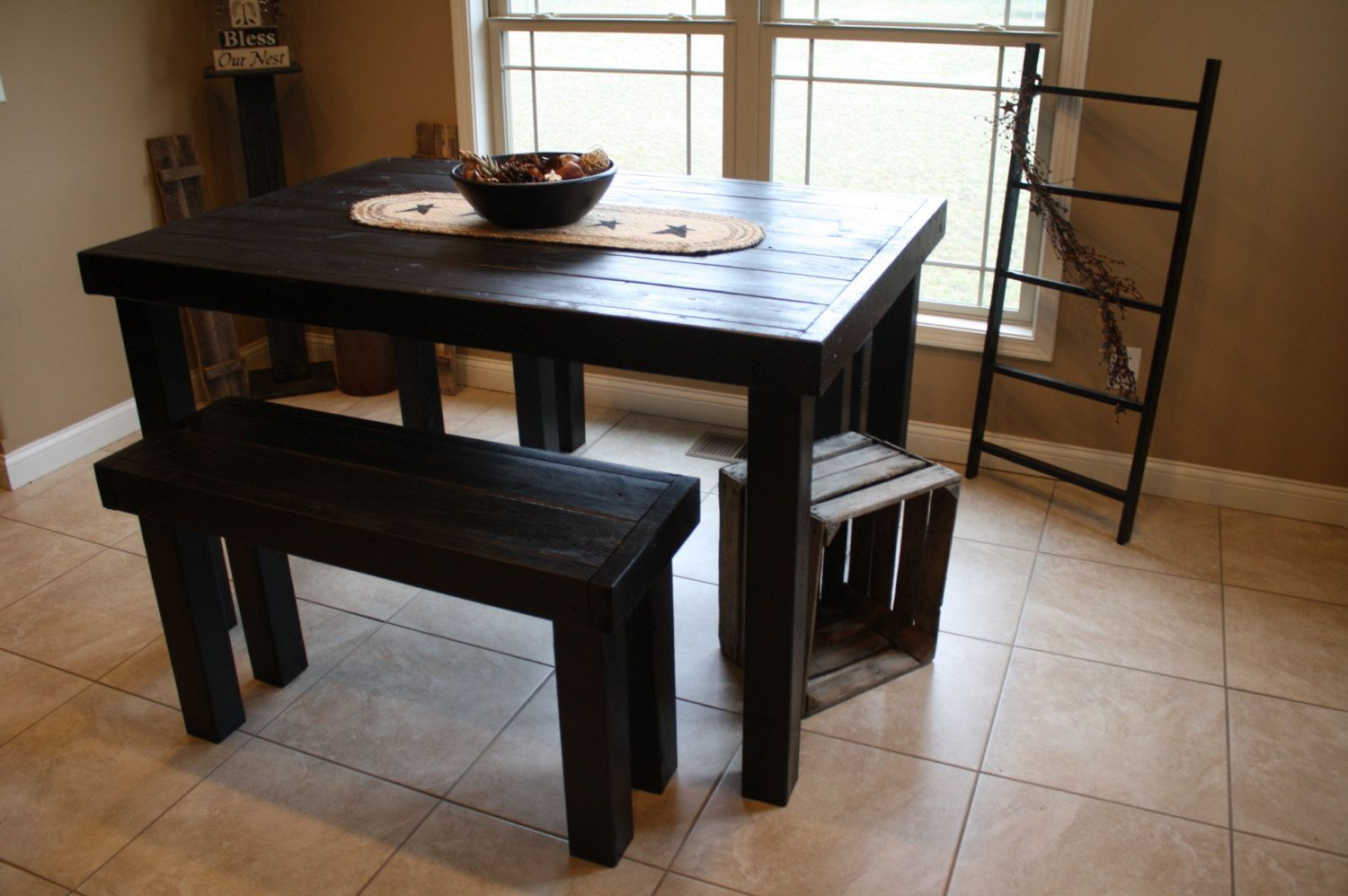 Beautiful Primitive Black Pub Style Tall Kitchen Table With Two Matching Benches Set Custom Mad Woodworking Furniture Plans Tall Kitchen Table Rustic Pub Table Tall kitchen table for two