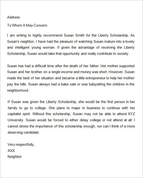 Sample Letter Of Recommendation For Scholarship   Free
