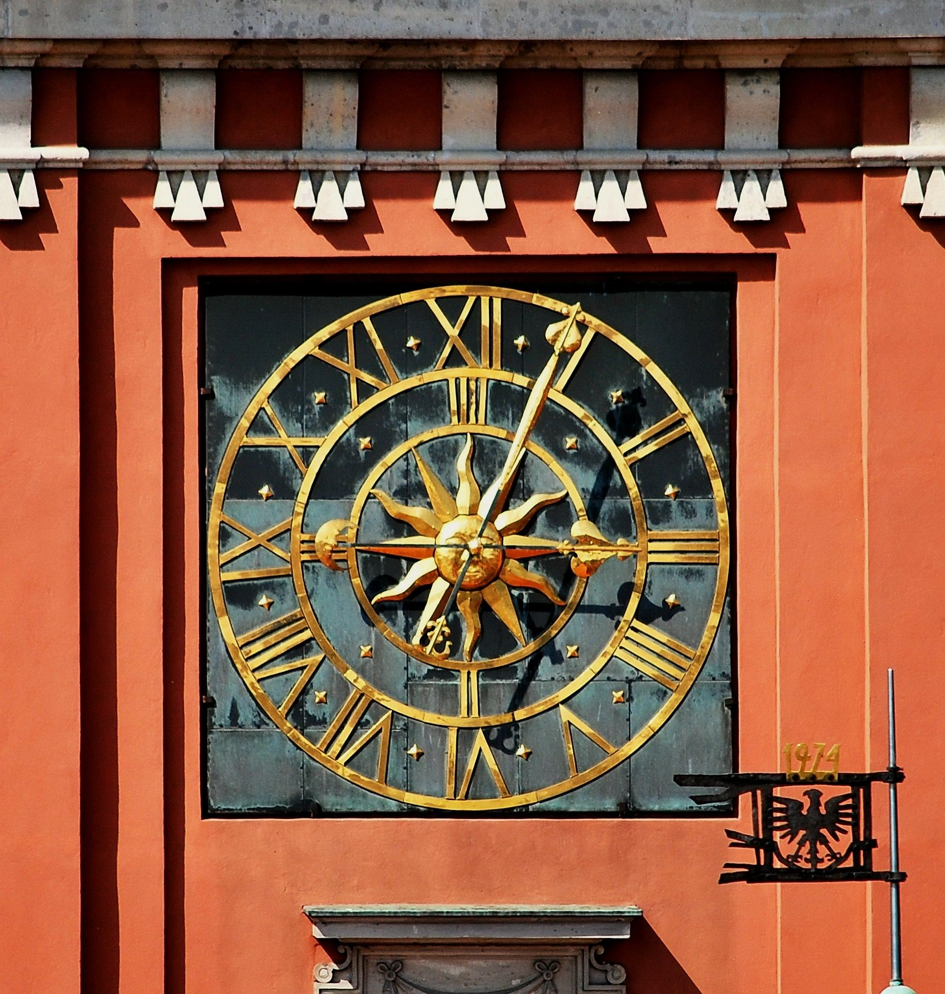 One of four clock faces of the clock in the so-called Sigismund's Tower (The New Royal Tower) of the Royal Castle in Warsaw, constructed for Sigismund III Vasa in 1622 by Gerardo Priami and Jan Sulej (mechanism) and Gerhard Benninck