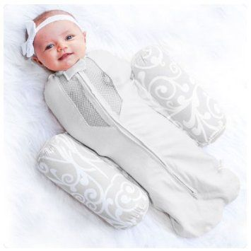 Amazon.com: Woombie Plus Baby Swaddle + Ventilated Positioner - 95% Cotton (Baby 14-19 Lbs, Gray): Car Electronics