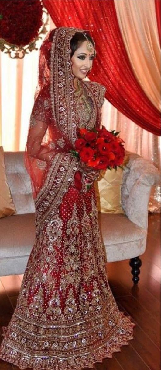 Red Bridal Sarees Asian Wedding Dress Wedding Lenghas Red