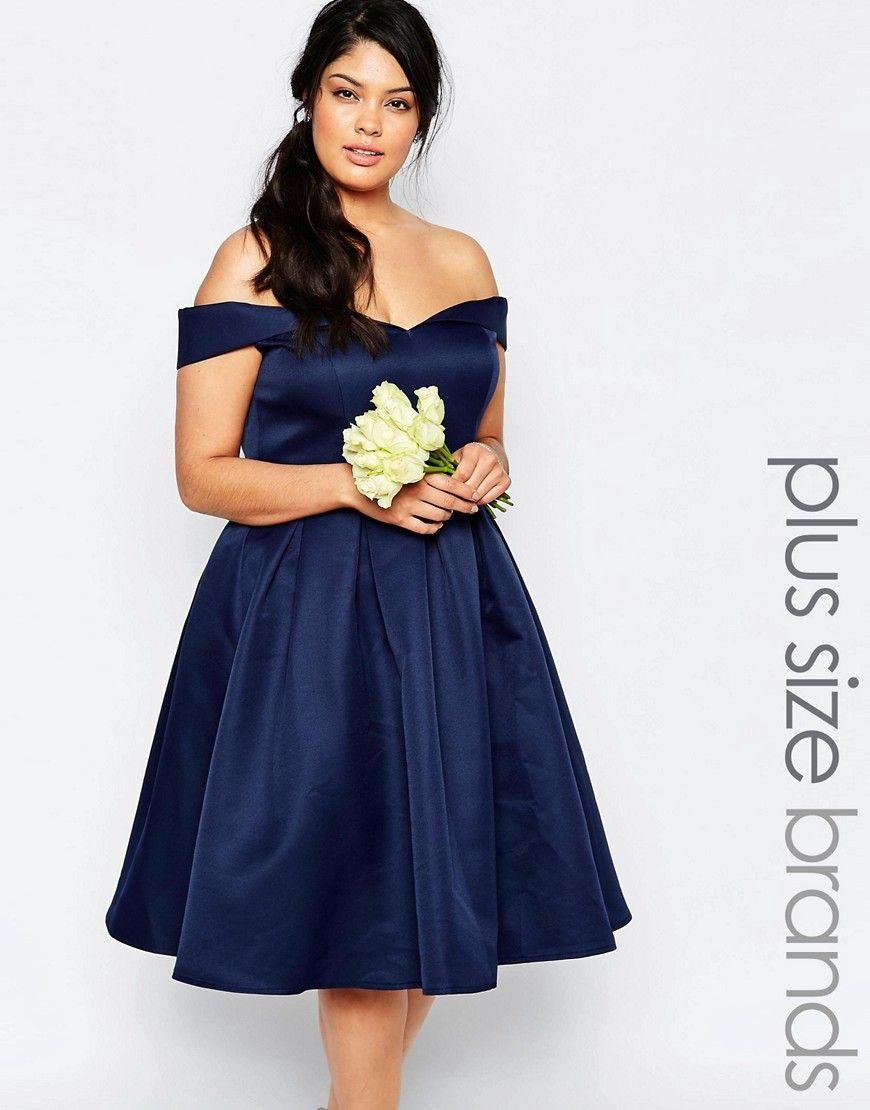 Chichilondonplusmidipromdresswithfullskirtandbardot shop chi chi london plus lace bardot prom dress at asos ombrellifo Choice Image