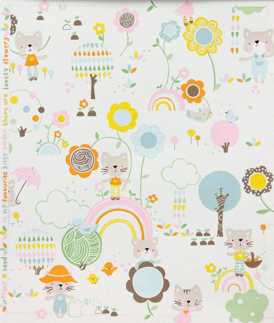 Alexander henry fabric kitty garden pink pastel for Cheap baby fabric