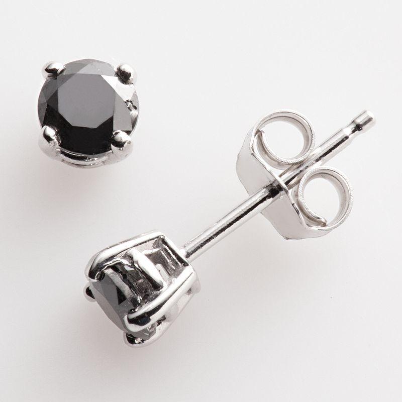 Diamond Sterling Silver 1 2 Ct T W Black Round Cut Stud Earrings