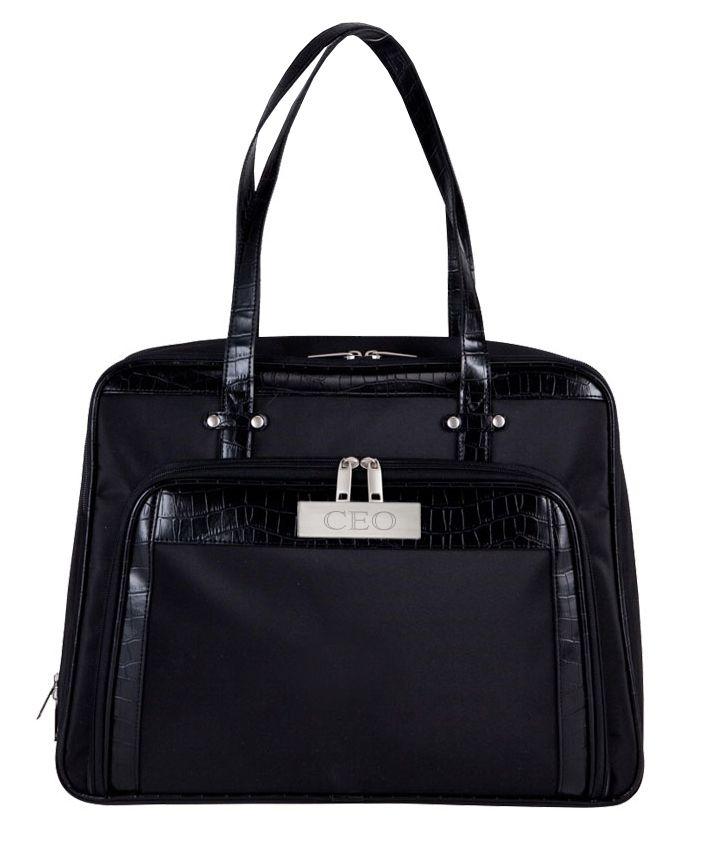Black Chic Computer Executive Croc Carry Bag Size: 17