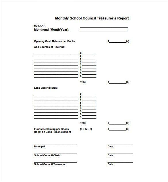 Treasurer Report Template - 10+ Free Sample, Example, Format - monthly financial report excel template