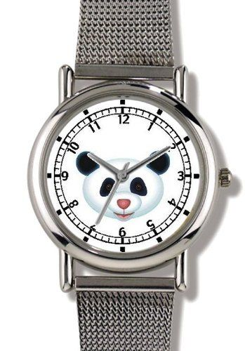 Giant Panda Bear Head (Pink Nose) - Bear - JP Animal - WATCHBUDDY® ELITE Chrome-Plated Metal Alloy Watch with Metal Mesh Strap-Size-Small ( Children's Size - Boy's Size & Girl's Size ) WatchBuddy. $79.95. Save 37%!