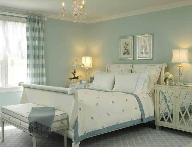 con i colori pastello - Camera da letto dai colori bianco e azzurro