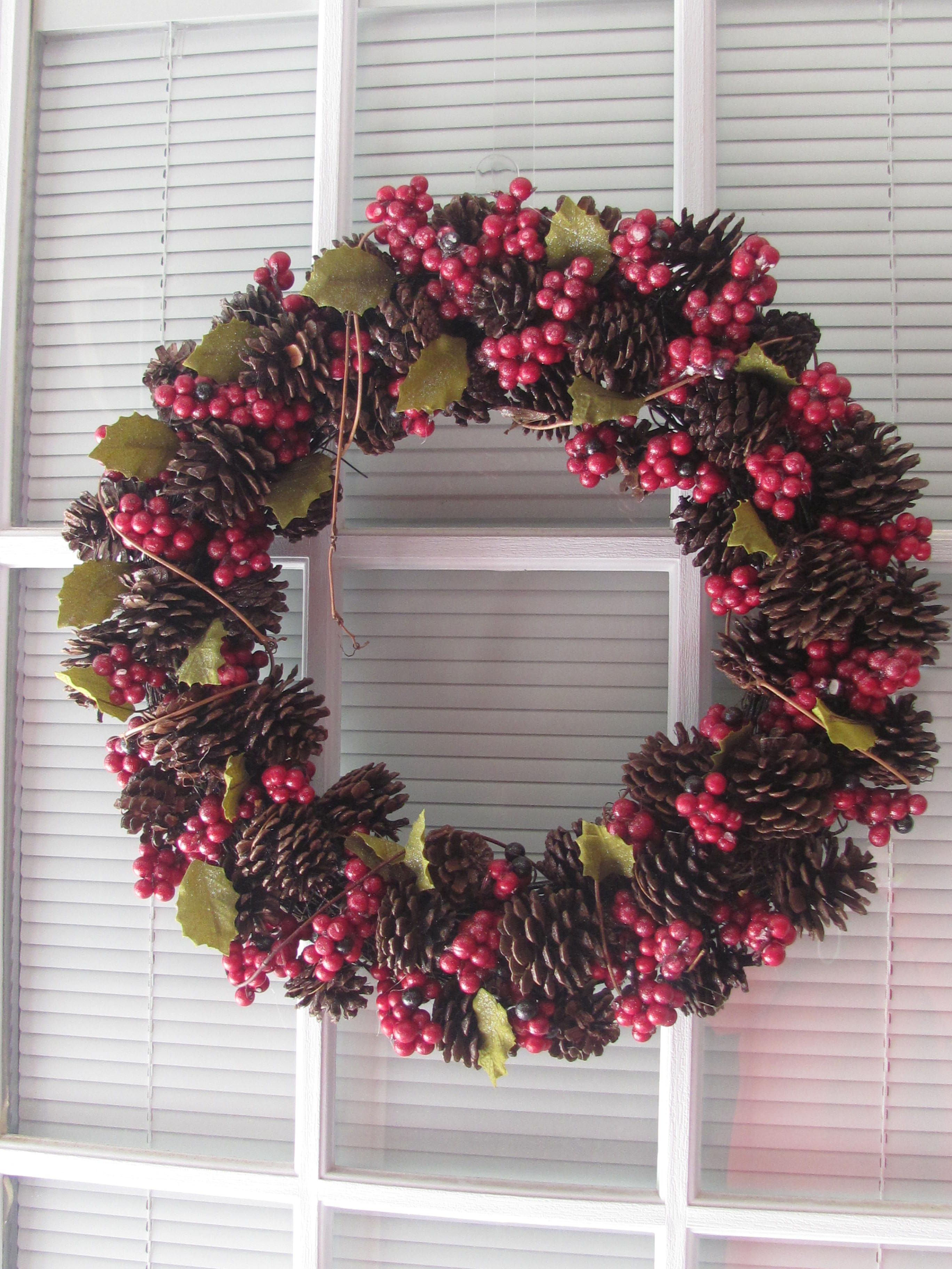 Pinecones & holly berry Christmas wreath.