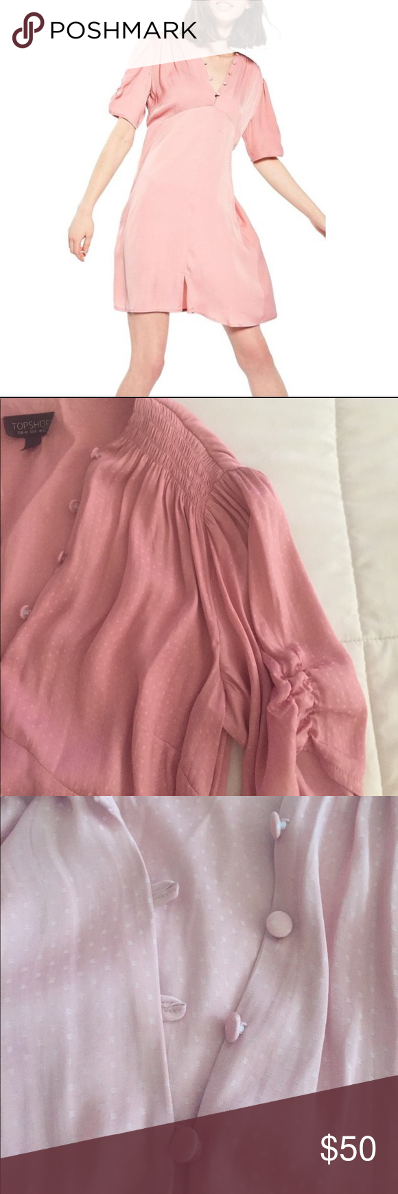 Pink dress topshop  Topshop Pink Jaquard Spot Mini Tea Dress Brand new Still has tags