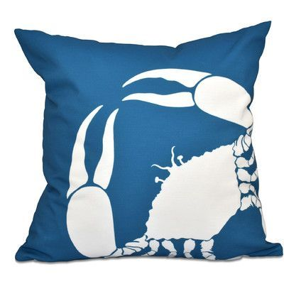 """Breakwater Bay Shirley Mills Crab Outdoor Throw Pillow Color: Teal, Size: 20"""" H x 20"""" W"""