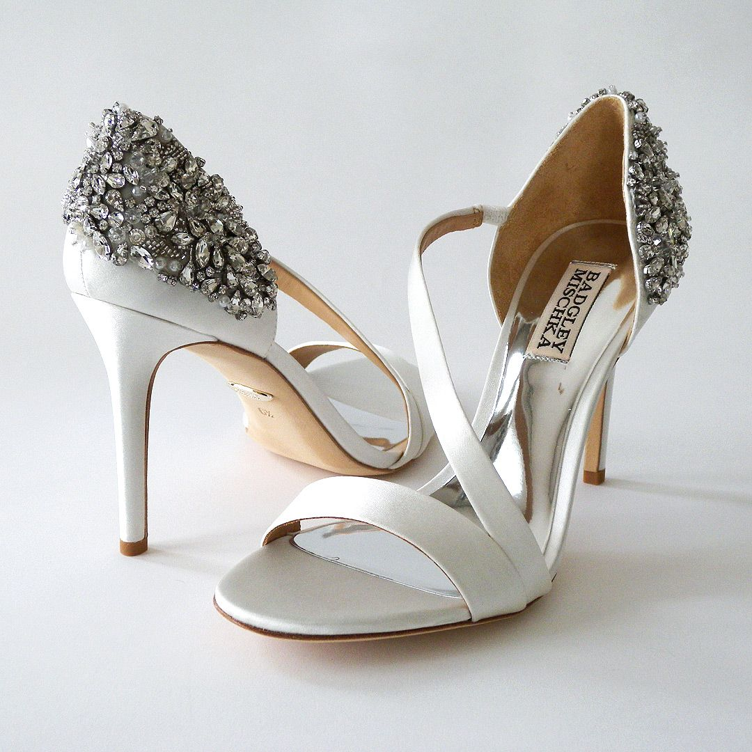 Super Sexy! Super Glam! Badgley Mischka has done it again. Soft White  Bridal sandals with a counter strap and beading wrapping around the outside  and back ... f6145f3a8ede