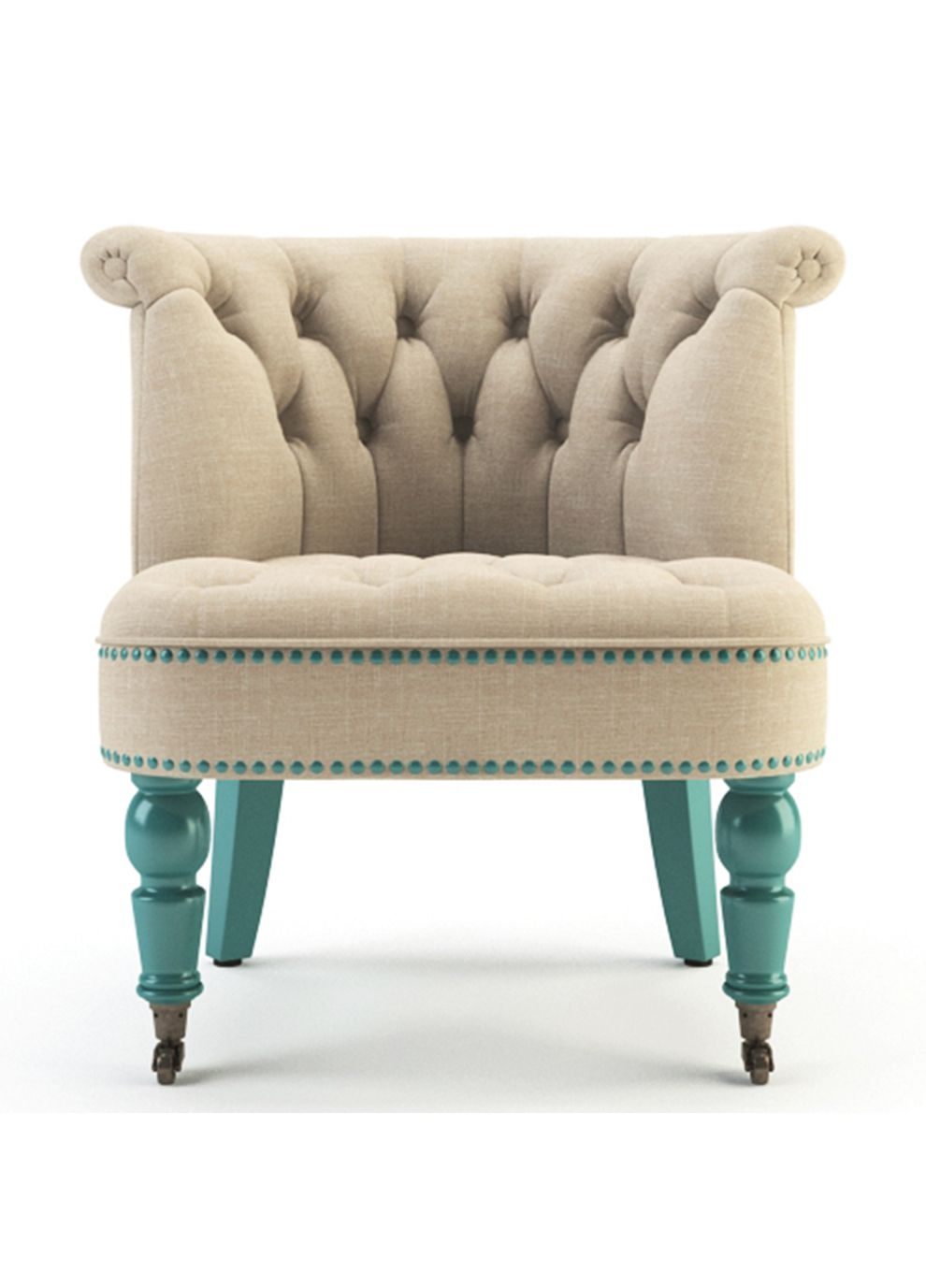 The Helene Chair French Beige And Turquoise For My