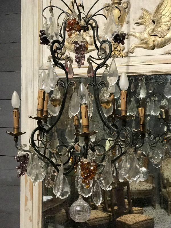 Colored glass fruits French chandelier - CHANDELIERS - LIGHTING - European  Antique Warehouse - Colored Glass Fruits French Chandelier - CHANDELIERS - LIGHTING