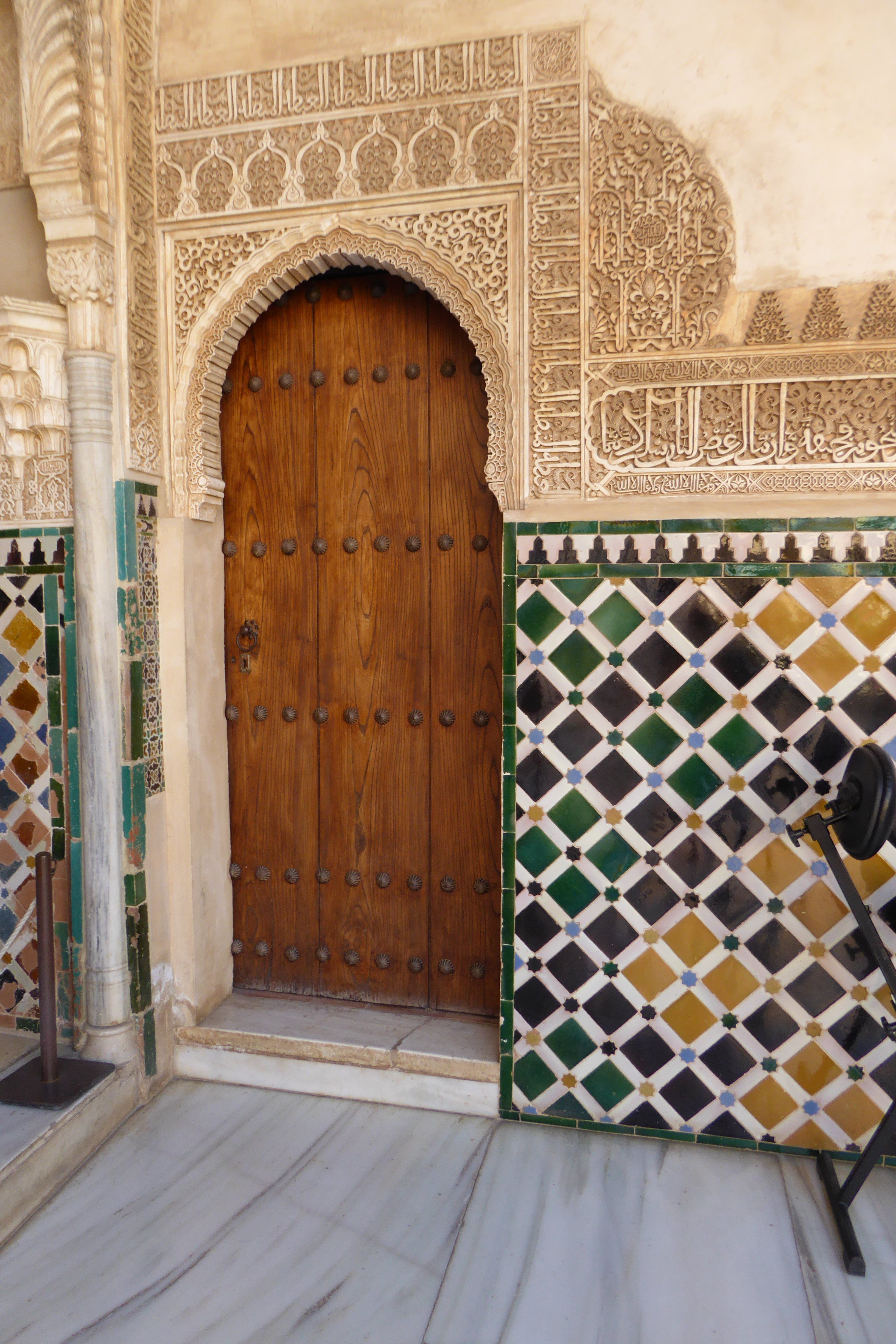 Decorative Door Surrounded By Tiles Inside The Alhambra Granada Spain Entrance Ways Door Decorations Entrance