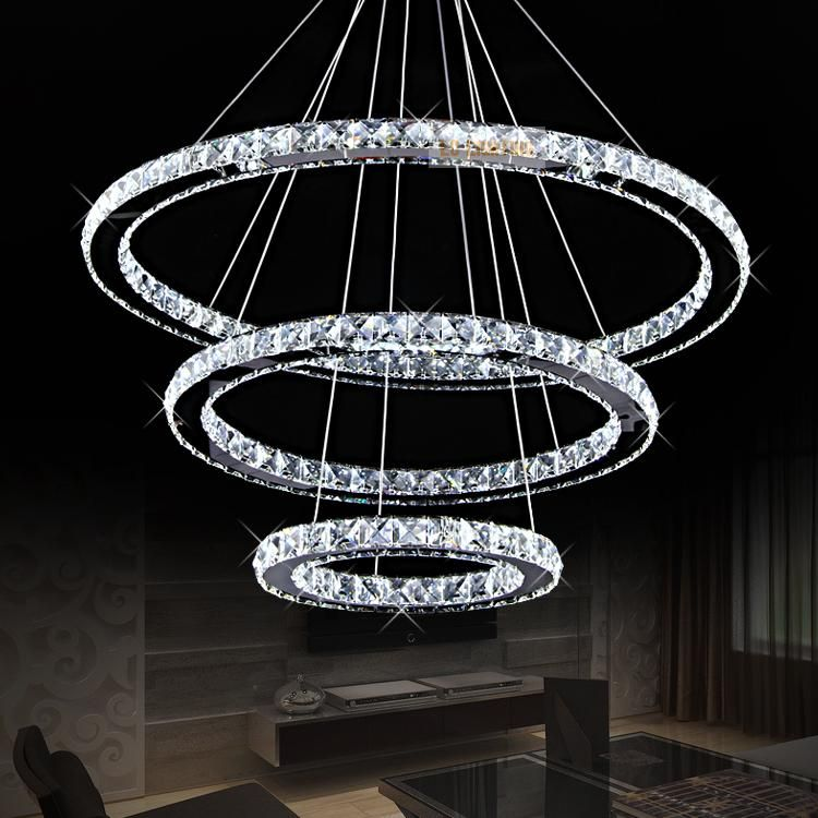 M Modern Creative European Style Luxury Living Room Lamps Restaurant Crystal Lustres LED Ring Diamond Circular Art Lights