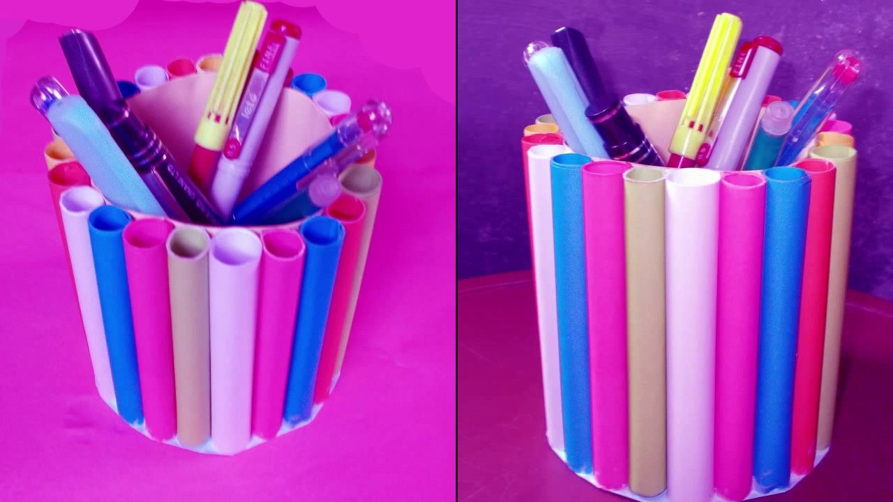 How To Make A Colorful Paper Pen Holder Pencil Holder Creative