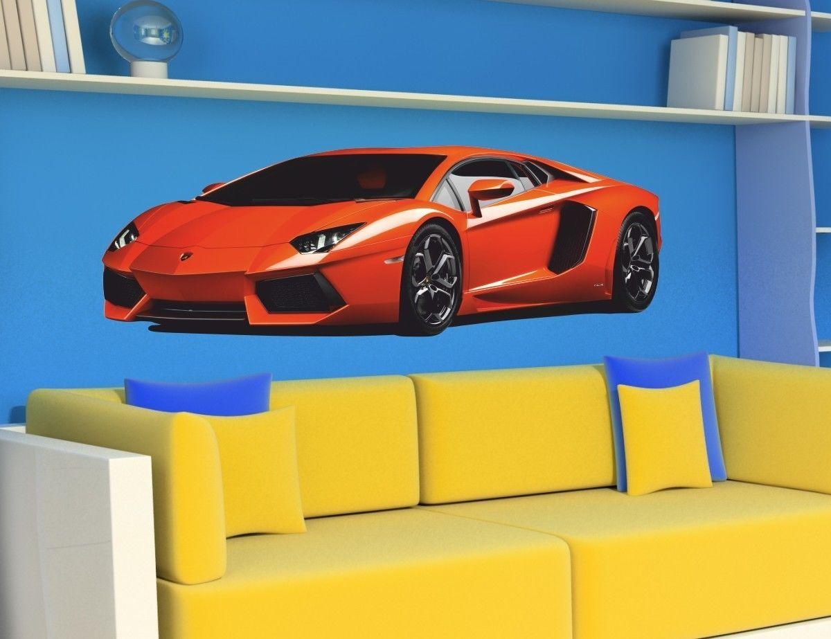 CARS Sports for Kids Room LAMBORGHINI Aventador Decor WALL STICKERS Sticker