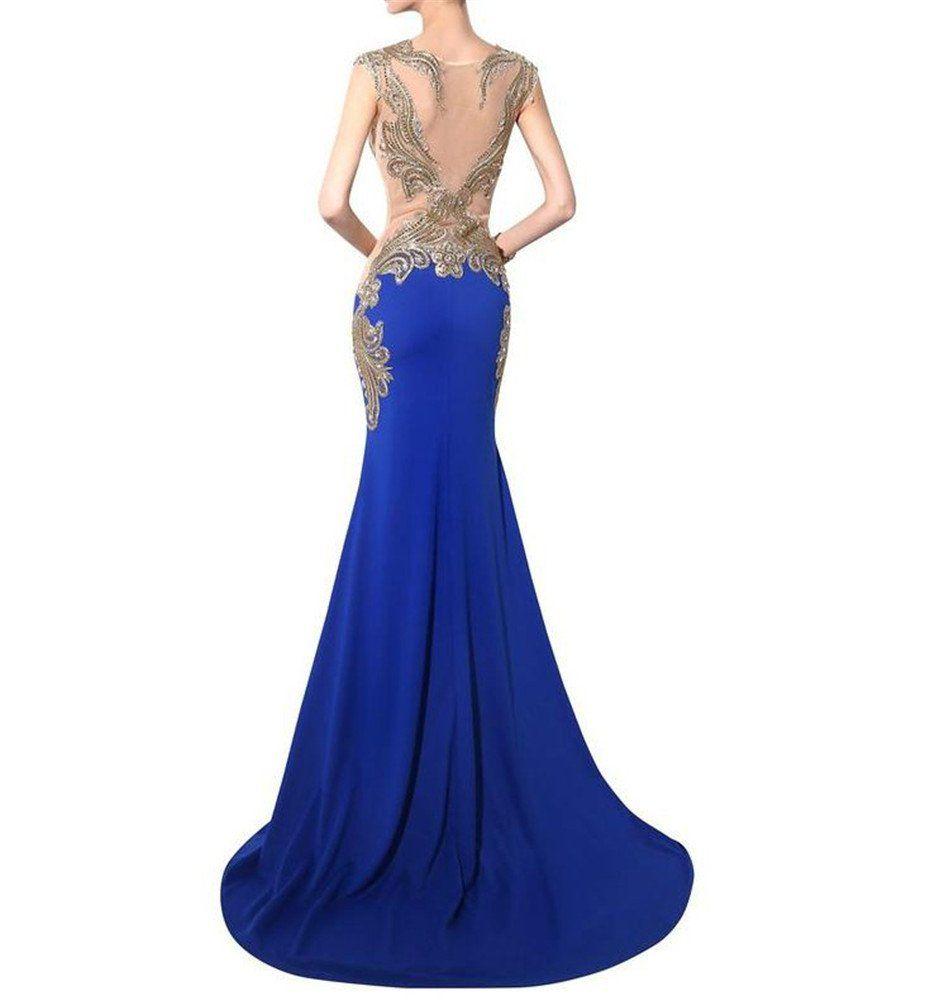 Promqueen womenus mermaid prom gown crew beaded long evening dresses