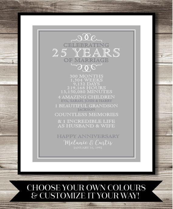 25 Year Anniversary Digital Print Gift 25th Anniversary Etsy 60th Anniversary Gifts 25 Year Anniversary 25 Year Anniversary Gift