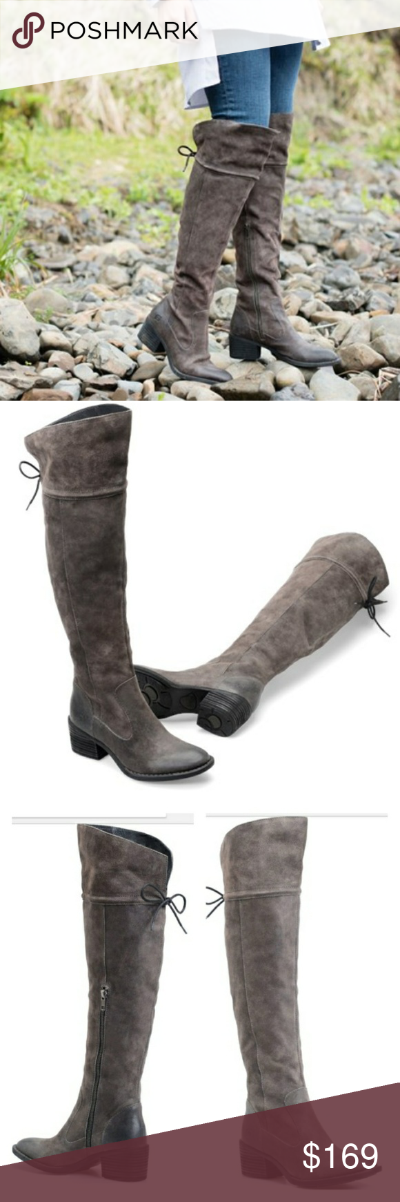 176bd281d48 Born Gallinara Petro Gray Over the Knee Boots Gorgeous handcrafted Born Over  the Knee Suede Boots. Leather lining Rubber outsole with ABS heel Tucker  board ...