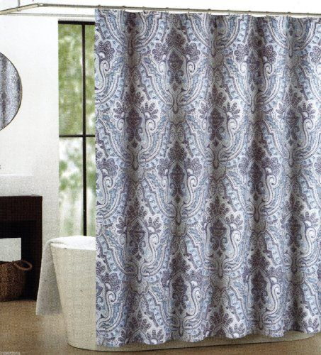 Tahari Fabric Cotton Blend Shower Curtain Izmir Paisley Damask Denim Blue Khaki Http