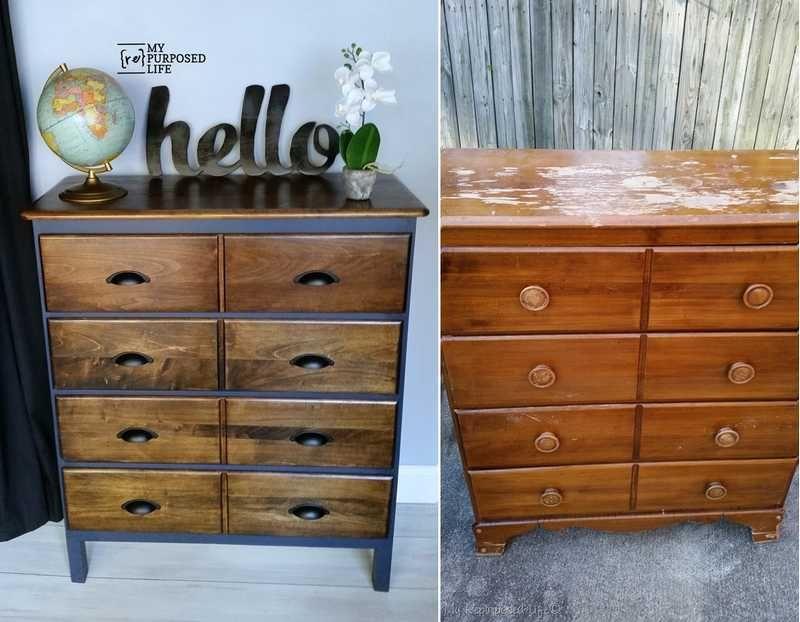 Une commode en pin relook e dans un style industriel avec un effet m tal en peinture d co diy - Restauration meuble industriel ...