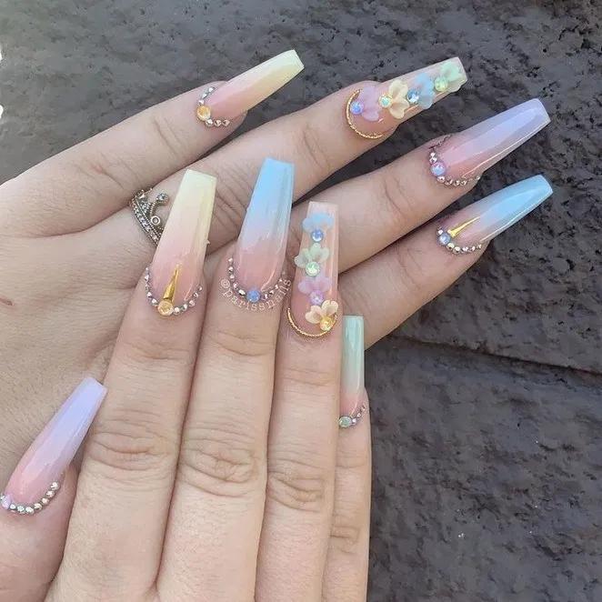 40 Trendy Coffin Nails Design Ideas 87 Swarovski Nails White Acrylic Nails Pretty Acrylic Nails