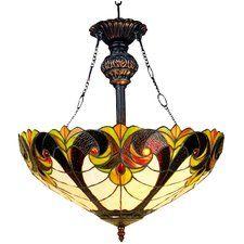 Luminaire suspendu inversé 2 lumières Tiffany