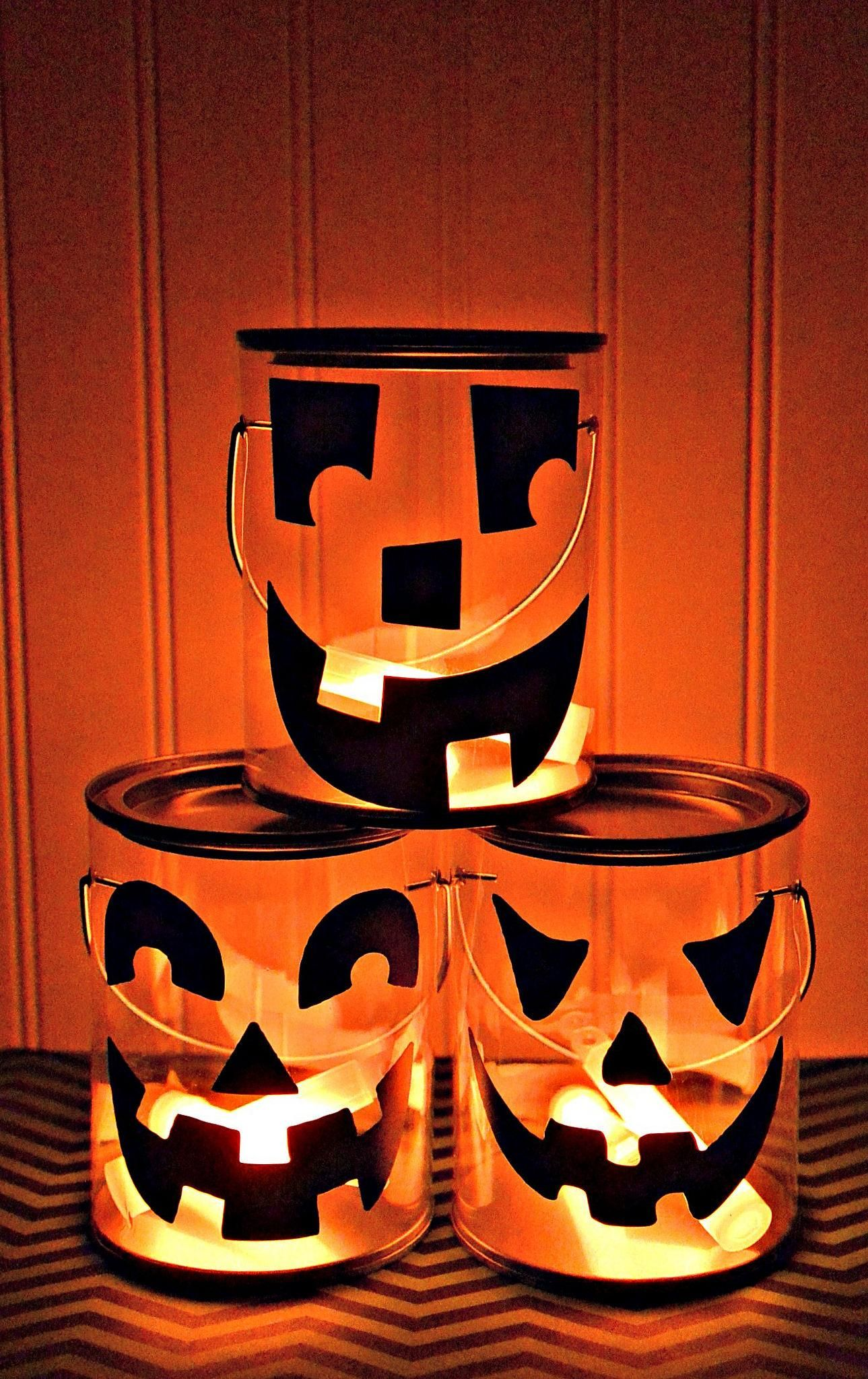 DIY Jack-o-Lantern Luminary Halloween Decorations with Glow Sticks - halloween decorations diy