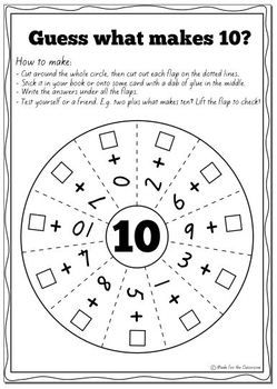 Pairs to 10 Worksheets for Addition Facts That Make 10