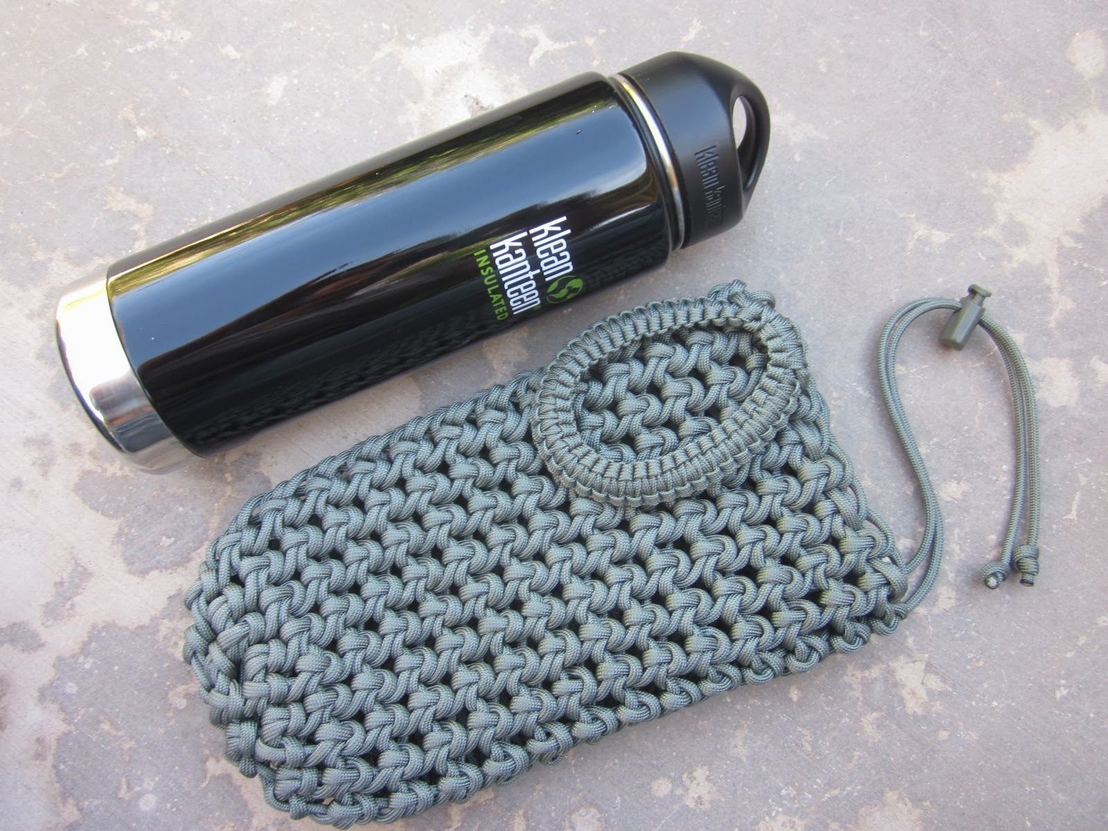 Wine Bottle Holder In 550 Coyote Paracord
