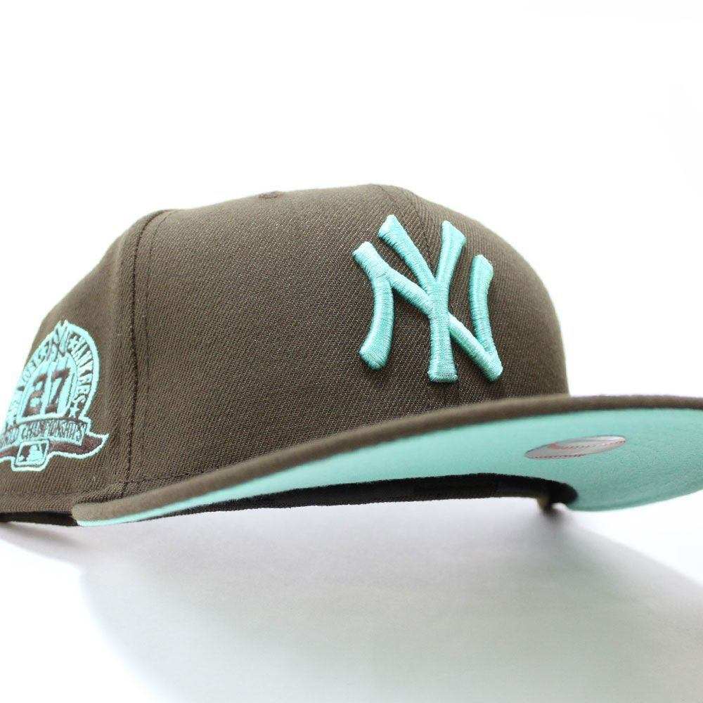 Newyorkyankees 27 Champions 59fifty Fitted Neweracap In Brown Tealbottom Ecapcity Fitted Hats New Era Cap Trendy Caps