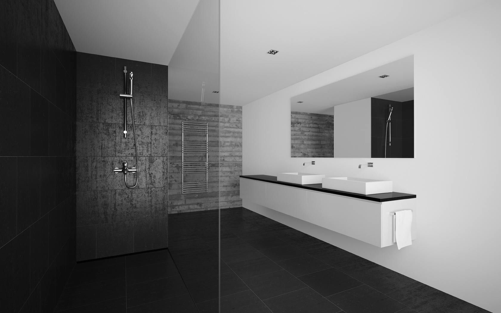 Bathroom showrooms canberra - Two Black Walls Two White Walls Bathroom Google Haku