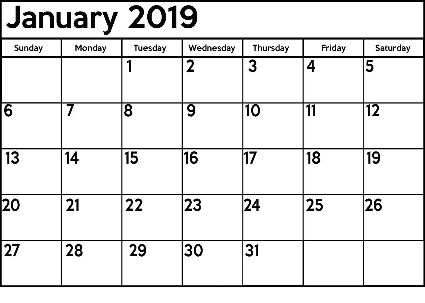 Jan Calendar 2019 Template January2019 Jan2019calendar