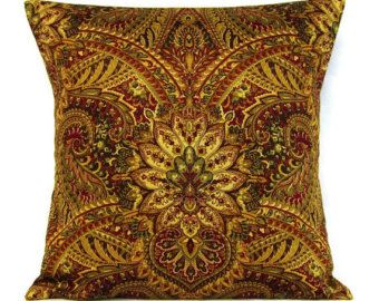 Throw Pillow Cover Brown Gold Paisley 16x16 Home Decor Decorative Claret Red Bronze Burgundy Sage Olive Green